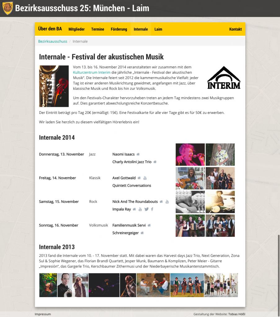 Screenshot der Website des Bezirksausschuss Laim (Internale)