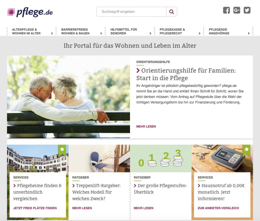 Screenshot von pflege.de (nach dem Relaunch)